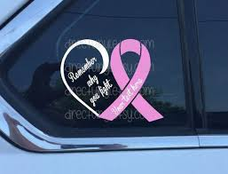 Pink Breast Cancer Awareness Ribbon Fight Heart Window Decal Etsy