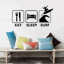 Eat Sleep Surf Wall Decal Surfing Sports Decals Surfboard Sticker Decor For Kids Bedroom Nursery Room Wallpaper Vinyl Art Y010 Wall Stickers Aliexpress