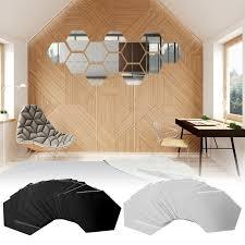 B7c1 Mirror Sticker Wall Art Decal Decal Hexagon 12pcs 12pcs For Sale Online Ebay