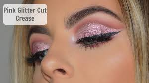 pink glitter cut crease makeup tutorial you