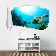 Sea Turtle 3d Torn Hole Ripped Wall Sticker Decal Decor Art Ocean Animals Wt303 Ebay