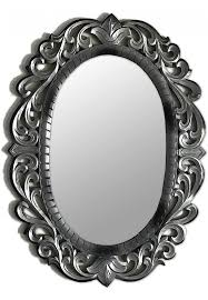 oval decorative wood wall mirror