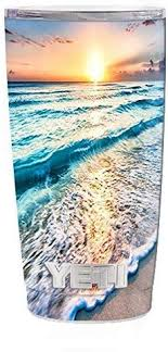 Amazon Com Skin Decal Vinyl Wrap 5 Piece Kit For Yeti 20 Oz Rambler Tumbler Cup Sunset On Beach Kitchen Dining