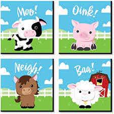 Amazon Com Big Dot Of Happiness Farm Animals Barnyard Kids Room Nursery Decor And Home Decor 11 X 11 Inches Nursery Wall Art Set Of 4 Prints For Baby S Room Toys Games