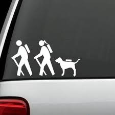 Hiker Couple Hiking Dog Backpack Camping Family Sticker Decal Truck Suv Laptop Family Stickers Dog Backpack Hiking Dogs