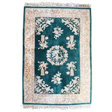 chinese rug in emerald green
