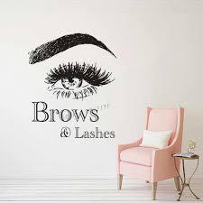 Brows Lashes Logo Wall Decal Beauty Make Up Studio Decor Eyebrow Comestics Wall Sticker Vinyl Beauty Salon Vinyl Posters Az824 Wall Stickers Aliexpress