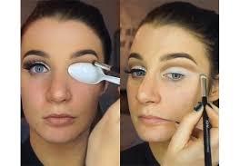 cut crease eye makeup look using a spoon