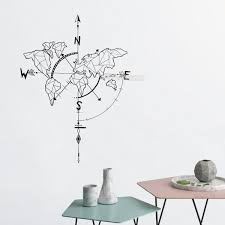 Abstract Compass Decal Map Compass Wall Stickers Map Wall Decal