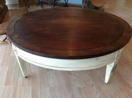 large round vintage coffee table by