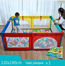 קנו מנשא לתינוק Free Shipping Foldable Baby Playpen Fence Steel Pipe Baby Play Fence Toddler Indoor Safety Play Pool Child Protection 0 5 Years