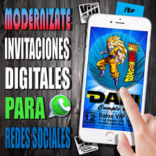 Invitacion Digital 180 Cumpleanos Dragon Ball Z 99 99 En