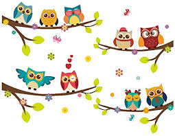 Amazon Com Elecmotive Wall Stickers Of Tree Owls Wall Decals For Kids Rooms Nursery Baby Boys Girls Bedroom Home Improvement