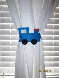 Choo Choo Train Curtain Tie Backs Set Of 2 Etsy In 2020 Curtain Tie Backs Tieback Curtains