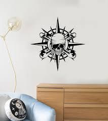 Vinyl Wall Decal Pirate Compass Skull Bones Nautical Kids Room Art Int Wallstickers4you