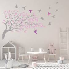 Rose Pink Grey Tree Branch Wall Sticker Pink Girls Bedroom Decor Grey Wall Decor Gray Tree