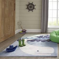 Whale Rug Ocean Waves Ship Rug For Kids Rooms