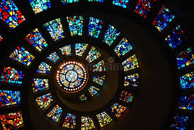 spiral stained glass of the