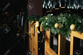 Christmas Decorations On A Wooden Fence Branches Of A Green Stock Photo Picture And Royalty Free Image Image 122341243
