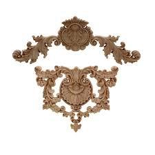Flower Carving Natural Wood Appliques For Furniture Cabinet Etsy