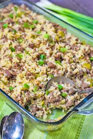 ground beef and sausage rice cerole