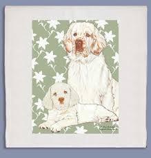 clumber spaniel kitchen tea towel dog