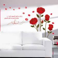 Home Decor Red Rose Wall Decal Mural Removable