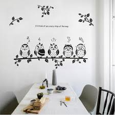 Black Cartoon Owl Wall Sticker Cute Five Birds On The Tree Decal Kids Room Bedroom Living Room Kitchen Bathroom Decor Wallpaper Wall Stickers Aliexpress