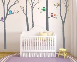 Amazon Com Birch Tree Nursery Wall Decal Stickers Forest Vinyl Graphic Transfers With Owls For Baby Room Decor Grey 96x170 Inches Home Kitchen