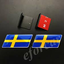 2pcs Sweden Flag Car Front Grille Grill Emblem Badge Decal Sticker Gift Saab Ebay