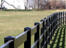 Black Vinyl Railing Fences Horse Fence Post Rail Ranch Tough Plastic Fenc Fence Material