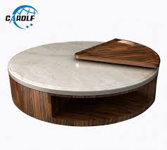 natural marble top wooden coffee table