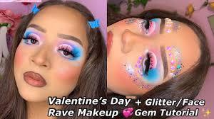 pastel rave makeup chunky glitter