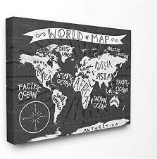 Amazon Com The Kids Room By Stupell Kids World Map Black And White Nursery Design Canvas Wall Art 16 X 20 Multi Color Home Kitchen