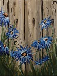 Summer Flowers On The Fence Art Painting Acrylic Painting Canvas Night Painting