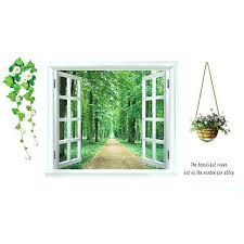 Shop Home 3d Window Scenery Pattern Art Decal Wall Sticker Mural Decoration Green White Purple Overstock 28886835