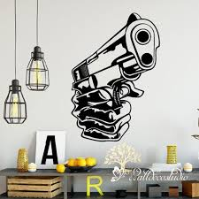 Gun Weapon Wall Decal Kids Room Bedroom Army Military Pistol Etsy