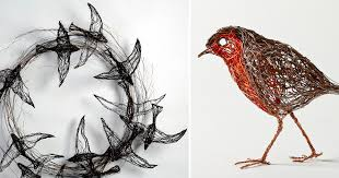 Bird Sculptures Constructed from Wire by Celia Smith Look like ...
