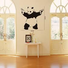 Buy Banksy Gun Toting Panda Wall Decal Art Sticker Lounge Living Room Bedroom Color Dark Grey Size Medium In Cheap Price On M Alibaba Com