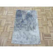 hand knotted wool gray blue area rug