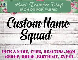 Custom Squad Shirt Iron Ons
