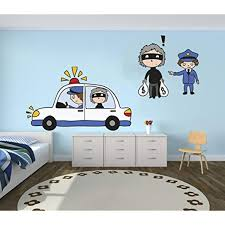 Police And Thief Vinyl Wall Paper Decal Art Sticker Kids Room Decor For Home Interior Decoration Car Laptop Wide 22 X Kid Room Decor Vinyl Wall Decal Paper
