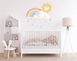 Rainbow Wall Decal Nursery Decor Sun Wall Sticker Cloud Etsy In 2020 Rainbow Wall Decal Nursery Wall Decals Wall Stickers Clouds