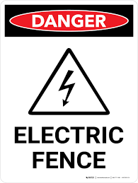 Danger Electric Fence Portrait With Icon Wall Sign Creative Safety Supply
