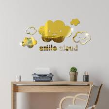 Smiling Cloud Mirror Surface Wall Sticker Removable Diy Art Decal Home Decoration Walmart Com Walmart Com