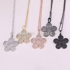 flower pendant necklace crystal