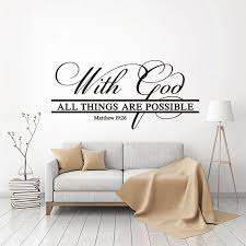 Stickers With God All Things Are Possible Vinyl Wall Art Decal Bible Quote Mural Art Living Room Home Decor Poster Decoration Wall Stickers Aliexpress