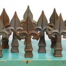 2 Vintage Antique Cast Iron Wrought Iron Fence Post Finial Fleur De Lis