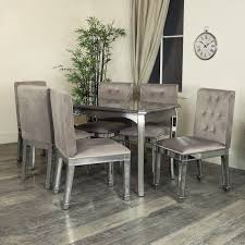 silver mirrored dining table chair