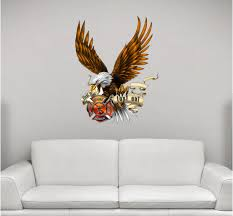 Firefighter Eagle In Flames Wall Decal Stickit Graphix